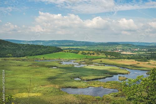 View over inner lakes and fields on Tihany peninsula at lake Balaton, Hungary Poster