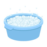 Basin with soap suds and water icon in cartoon style isolated on white background. Cleaning symbol stock vector illustration.