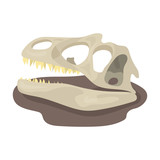 Dinosaur fossils icon in cartoon style isolated on white background. Dinosaurs and prehistoric symbol stock vector illustration.