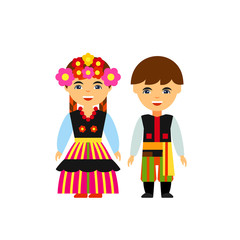 Poles in national dress vector icon