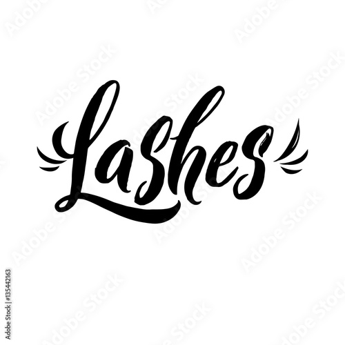 Lash Typography Square Poster Vector Lettering Calligraphy Phrase