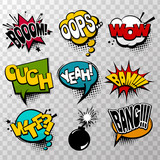 Set effects comic speech bubbles, comic text baloon. Bsng, boom, bam, oops, bomb