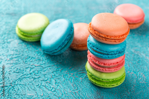 Cake macaron or macaroon, colorful almond cookies. Poster