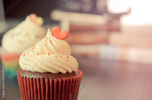 chocolate cupcake with rainbow heart for love valentines