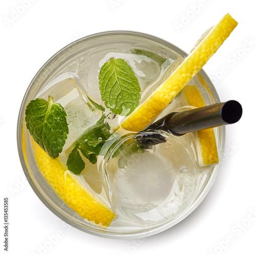 Poster Glass of lemon soda drink