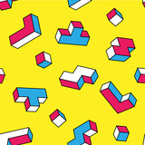 White, blue, red tetris 3d blocks seamless pattern on yellow background. Vintage 80s style design. Clipping mask used. - 135455143