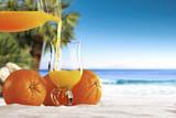 sea sand and orange juice
