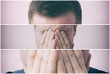 Young man covers his face with his hands in grief or pain - 135457343