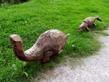 Dinosaurs carved in wood