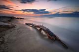Sea sunrise / Magnificent long exposure sunrise view with a log at the Black Sea coast, Bulgaria