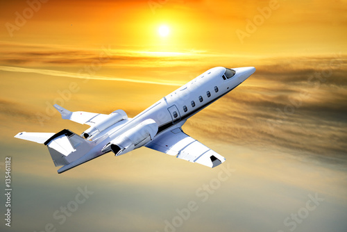 Poster Airplane Flying at sunrise