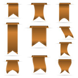 bronze color hanging curved ribbon banners set eps10