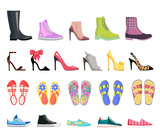 Collection of Shoes Types. Modern Female Footwear