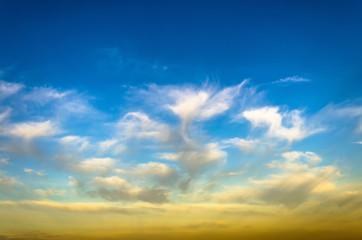 Evening sunset light clouds cirrus sky sun texture background