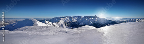Winter high tatra mountain panorama landscape. Poland