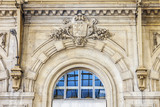 NICE, FRANCE, on JANUARY 6, 2017. Typical details of city architecture. The sun lights a fragment of a facade of the railway station