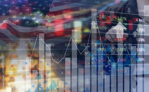 Foto op Aluminium Toronto Double exposure of business woman and stock market design with USA flag