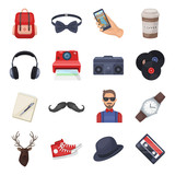 Hipster style set icons in cartoon style. Big collection of hipster style vector symbol stock illustration