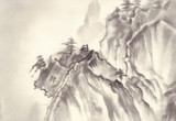 montains landscape ink painting