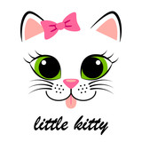Cute white kitten with pink bow. Girlish print with kitty for t-shirt
