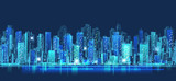 Abstract city scene on night time, cityscape vector design - 135484797