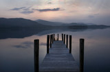 Ashness landing stage Derwent Water sunset