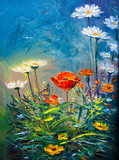 Fototapety Oil painting Daisy flowers
