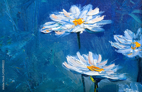 Oil painting Daisy flowers © serge-b