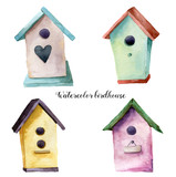 Fototapety Watercolor birdhouse set. Hand painted nesting box isolated on white background. For design, print, fabric