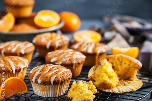 Poster Carrot tangerine cupcakes with glaze and caramel topping
