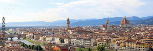 Deurstickers Toscane fantastic wide view of Florence with Palazzo Vecchio and the Arn
