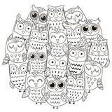 Circle shape pattern with cute owls for coloring book