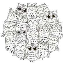 Circle Shape Pattern  Cute Owls For Coloring Book Sticker