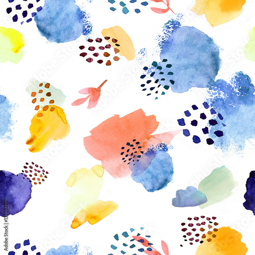 Cotton fabric Watercolor seamless pattern,dot memphis fashion style, bright de