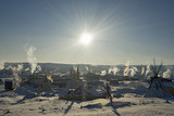 Bright sun at Oceti Sakowin Camp in the early morning, Cannon Ball, North Dakota, USA, January 2017