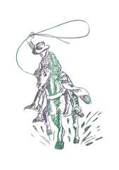 sketch of a Western Cowboy riding a wild horse