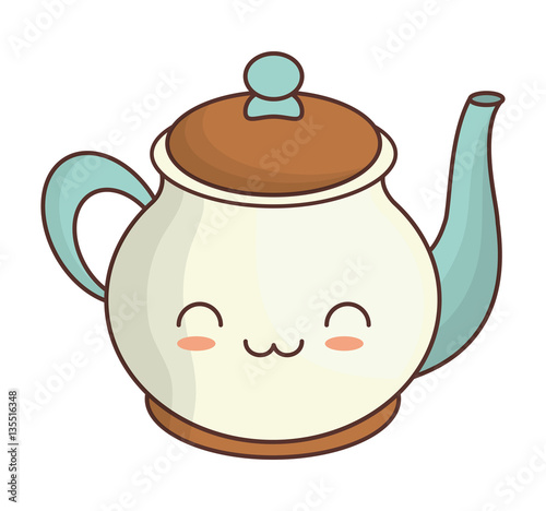 teapot kawaii icon image vector illustration design  - 135516348
