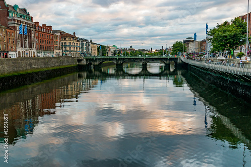 Poster Overlooking Dublin's River Liffey from Millenium bridge at sunse