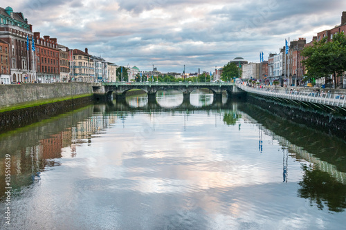 Overlooking Dublin's River Liffey from Millenium bridge at sunse Poster