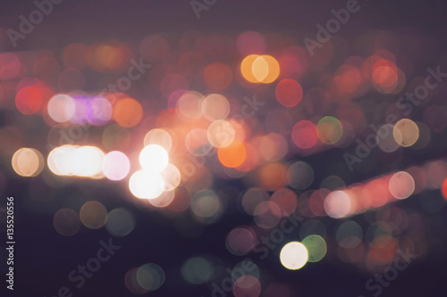 Poster Blurred lights with vintage color effect