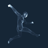 A football player from particle. Sports concept. 3D Model of Man