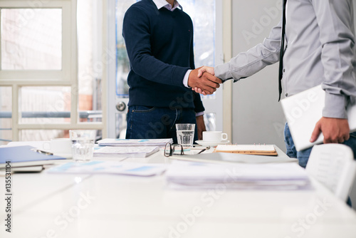 Greeting business partner