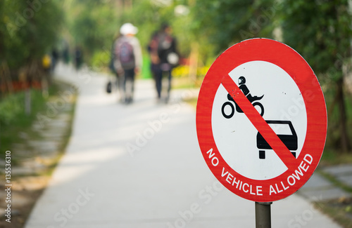 No motor car vehicle allowed way. Sign of walking street. Poster