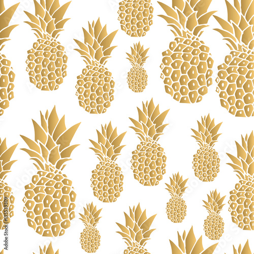 Pattern. Gold pineapple background. Vector illustration.