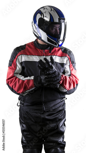 Aluminium F1 Man wearing a protective leather and textile racing suit for race cars and motorcycle motor sports. The gear is armored with a helmet and worn by bikers and professional drivers.