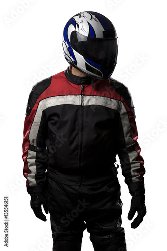 Fotobehang F1 Man wearing a protective leather and textile racing suit for race cars and motorcycle motor sports. The gear is armored with a helmet and worn by bikers and professional drivers.