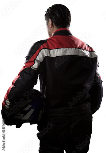 Foto Spatwand F1 Man wearing a protective leather and textile racing suit for race cars and motorcycle motor sports. The gear is armored with a helmet and worn by bikers and professional drivers.