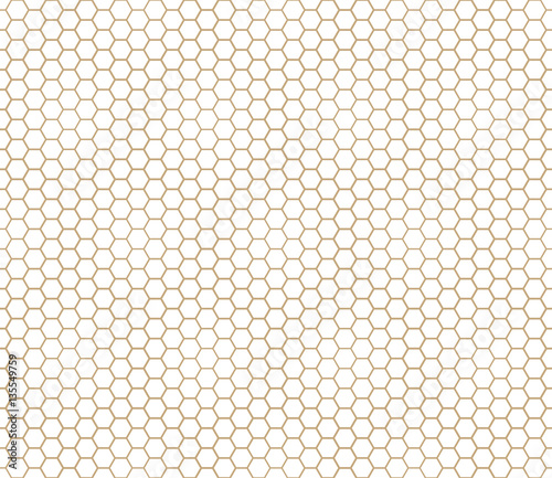 abstract geometric graphic seamless gold hexagon pattern background - 135549759