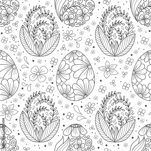 Cotton fabric Seamless pattern with easter egg and doodle flower line style.Background, textile, cover