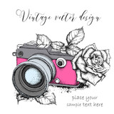 Hand drawn vintage camera with roses. Vector illustration